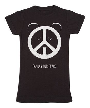 Black 'Pandas for Peace' Tee - Girls