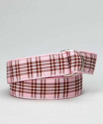 Light Pink Plaid Ribbon Belt - Toddler & Girls