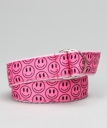 Pink Smiley Face Ribbon Belt - Toddler & Girls