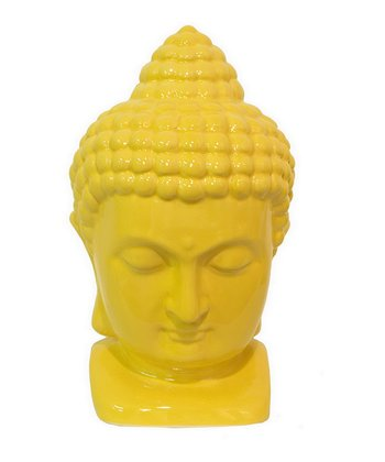 Yellow Meditating Buddha Head Figurine