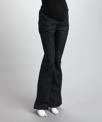 Dark Wash Mid-Belly Maternity Flare Jeans