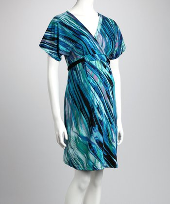 Purple & Turquoise Maternity Surplice Dress