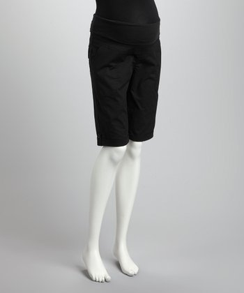 Black Over-Belly Maternity Bermuda Shorts - Women