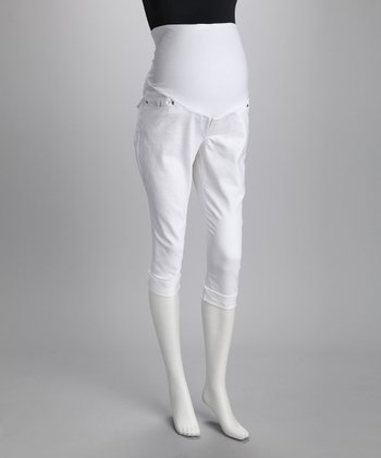 White Denim Maternity Capri Pants - Women