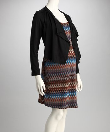 Brown Zigzag Maternity Dress & Jacket