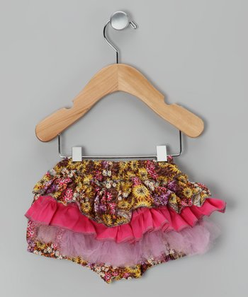 Brown & Pink Floral Ruffle Bloomers - Infant & Toddler