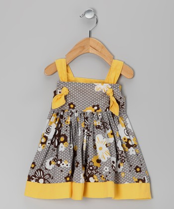 Gray & Yellow Floral Knot Dress - Infant & Toddler