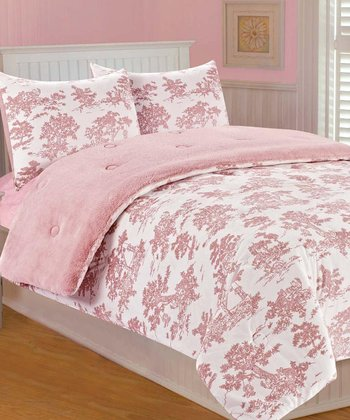 Pink Toile Microplush Bedding Set