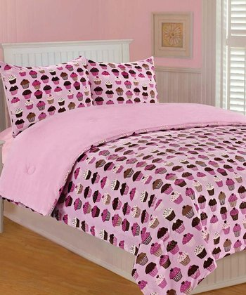 Pink Cupcakes Microplush Bedding Set