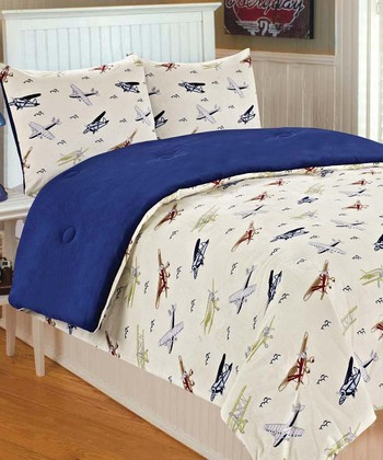 Vintage Plane Microplush Bedding Set