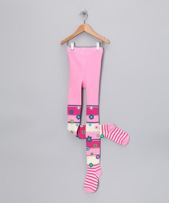 Pink Floral Stripe Tights