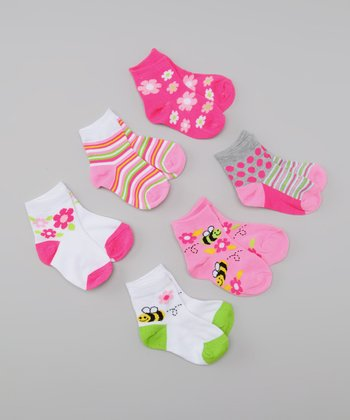Pink & Green Busy Bees Socks Set
