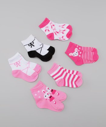 Pink & Black Ballerina Socks Set