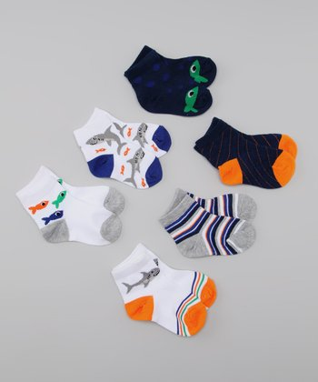 White & Blue Sharks Socks Set