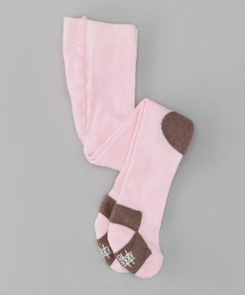 Pink & Brown Cushion Knee Tights
