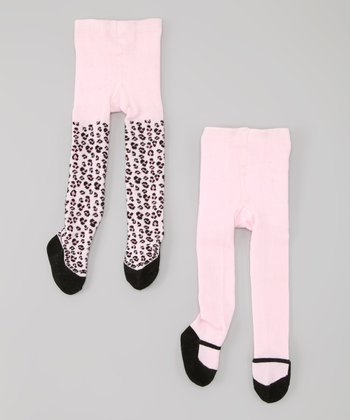Pink & Black Leopard Mary Jane Tights Set