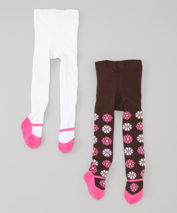 White & Brown Flower Mary Jane Tights Set - Infant