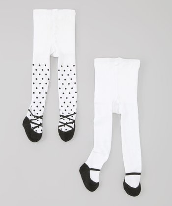 White & Black Polka Dot Mary Jane Tights Set - Infant
