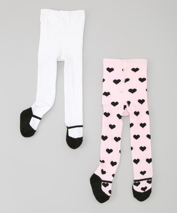 White & Black Heart Mary Jane Tights Set - Infant