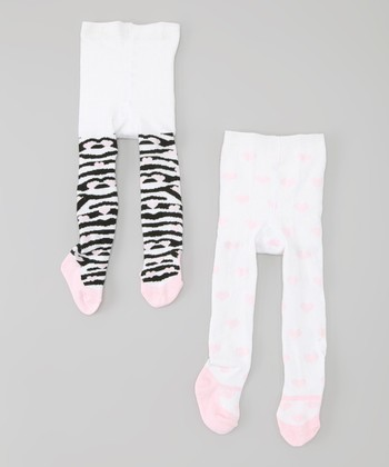 White & Pink Zebra Mary Jane Tights Set