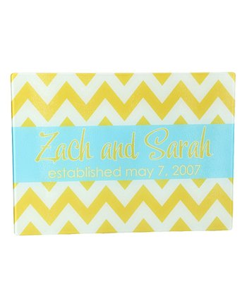 Yellow Zigzag Personalized Cutting Board