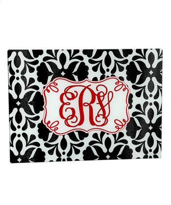 Black & Red Damask Monogram Cutting Board