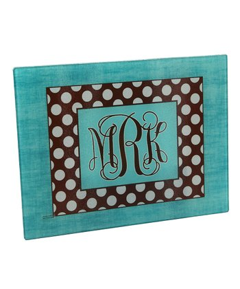 Linen & Polka Dot Monogram Cutting Board