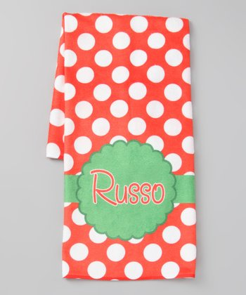 Red Ornament Personalized Hand Towel