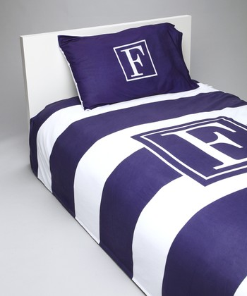 Navy & White Stripe Initial Duvet Set