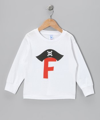 Red Pirate Initial Tee - Toddler & Kids