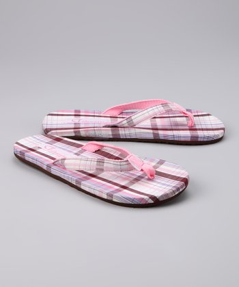 Chocolate & Pink Plaid Flip-Flop