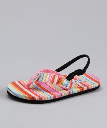 Pink & Orange Stripe Sandal - Kids
