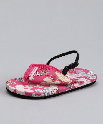 Pink South Pacific Flower Sandal - Kids