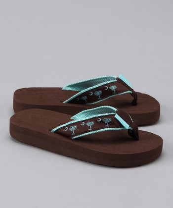 Chocolate & Turquoise Palmetto Flip-Flop - Kids