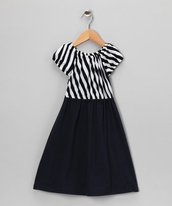 Black & Navy Stripe Dress - Toddler