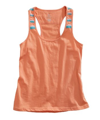 Tangerine Orange Stripe Racerback Tank - Women