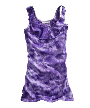 Purple Tie-Dye Ruffle Tank - Women