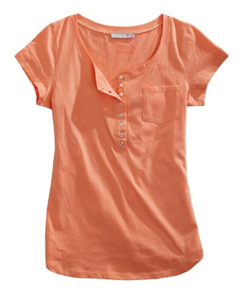Tangerine Orange Henley - Women