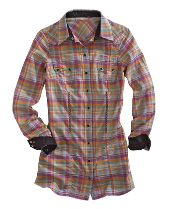 Pink & Orange Sweet Tart Plaid Button-Up - Women