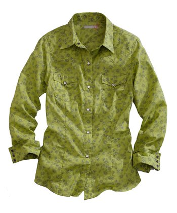 Green Heirloom Floral Button-Up
