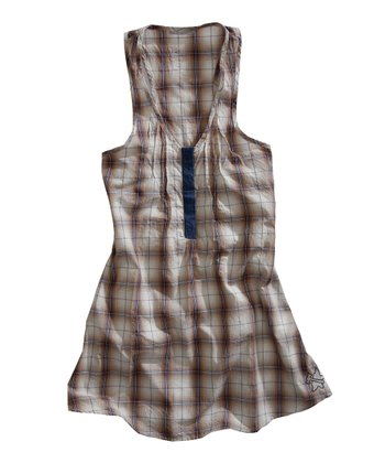 Yellow & Navy Plaid Racerback Tunic - Women