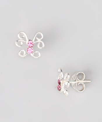 Tiny Treasures  Pink Sterling Silver Butterfly Stud Earrings