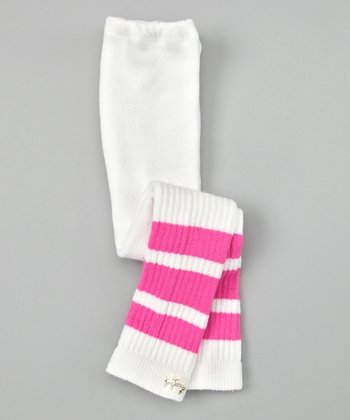 Hot Pink Stripe Tubular Leggings - Infant, Toddler & Girls