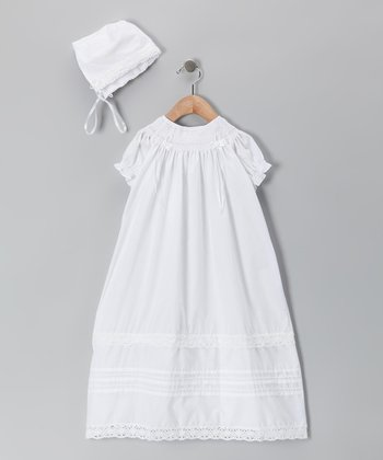 Tip Top White Christening Gown & Bonnet - Infant