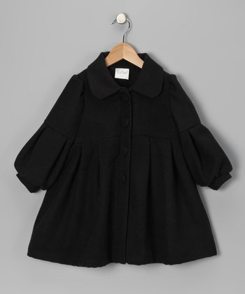 Black Pleated Coat - Infant, Toddler & Girls