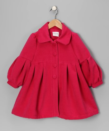 Fuchsia Pleated Coat - Infant, Toddler & Girls