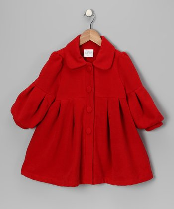 Red Pleated Coat - Infant, Toddler & Girls