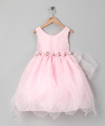 Pink Rosette Sheer Handkerchief Dress - Toddler & Girls