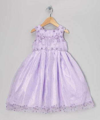 Lilac Beaded Babydoll Dress - Toddler & Girls