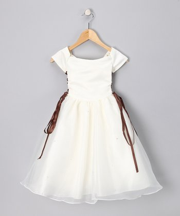 Ivory & Brown Lace-Up Cap-Sleeve Dress - Toddler & Girls